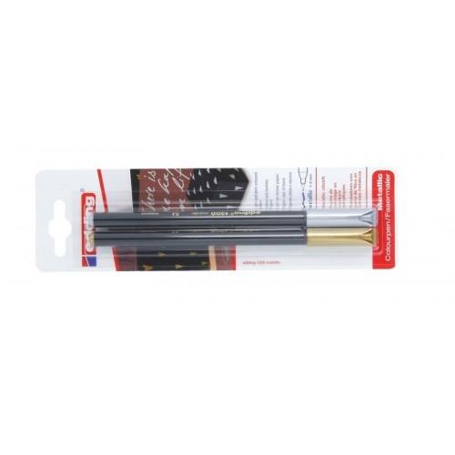 Фломастер Edding (Эддинг) 1200, круглый наконечник, 0,5-1 мм, золотой 053/серебряный 054, 2 шт/уп, блистер