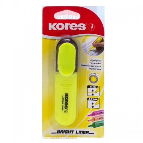 Маркер текстовыделитель Kores розница, 1-5 мм, жёлтый, блистер