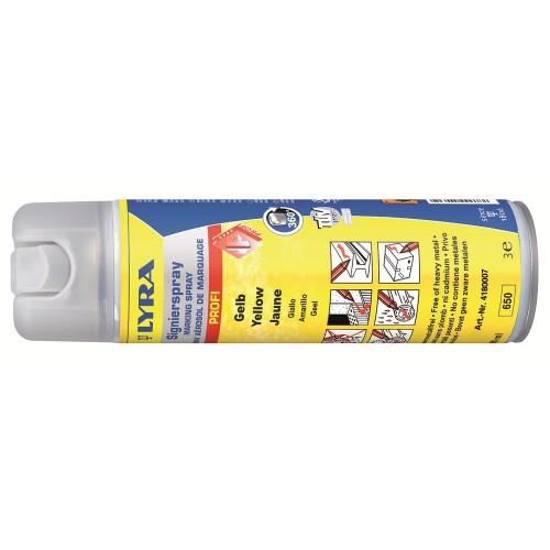 Маркировочный спрей Lyra для профессионального применения в строительстве и лесной промышленности, ярко-желтый, 500 мл, арт.L4180304