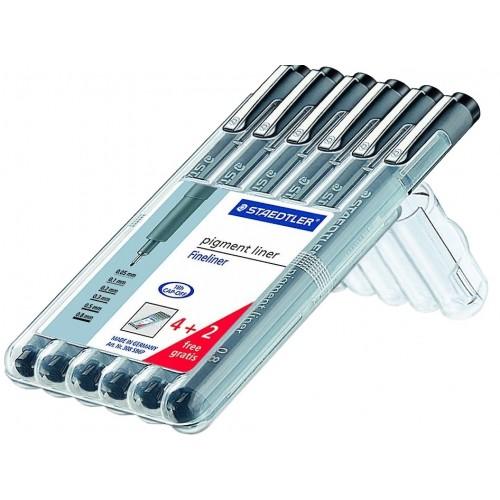 Набор капиллярных ручек Staedtler, 4 толщины+2, в пластиковом пенале, арт.ST308SB6P