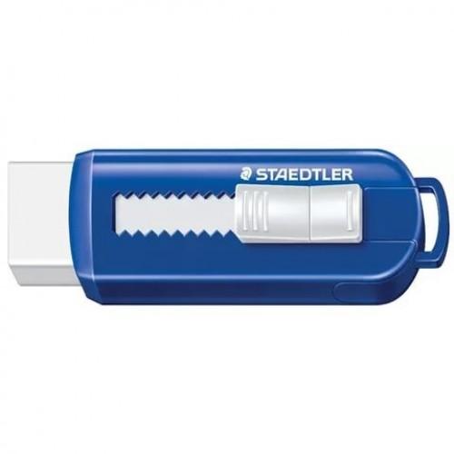Ластик Staedtler в пластиковой манжетке, 60х20х10 мм, сине-белый, арт.ST525PS1