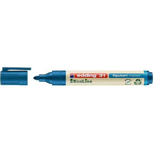 Маркер для флипчарта Edding (Эддинг) 31 EcoLine, 1,5-3 мм, круглый наконечник, синий 003