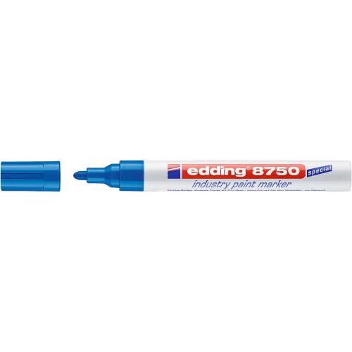 Маркер перманентный для промышленной графики Edding (Эддинг) 8750, круглый наконечник, 2-4 мм, синий 003