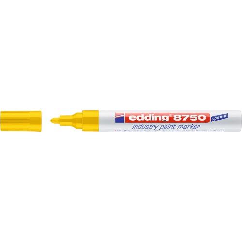 Маркер перманентный для промышленной графики Edding (Эддинг) 8750, круглый наконечник, 2-4 мм, желтый 005