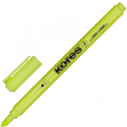 Маркер текстовыделитель Kores, скошенный наконечник, 0,5-3,5 мм, желтый 36201