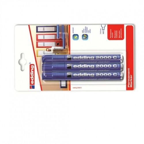 Маркер перманентный промышленный Edding (Эддинг) 2000С, круглый наконечник, 1,5-3 мм, заправляемый, синий 003, 3 шт/уп, блистер