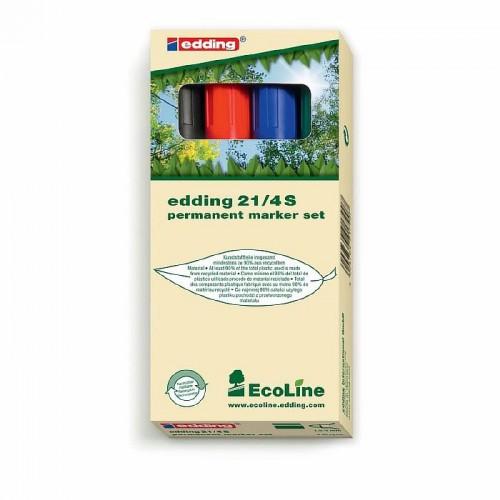 Набор маркеров перманентных Edding (Эддинг) 21 EcoLine, круглый наконечник, 1,5-3 мм, 4 шт/уп