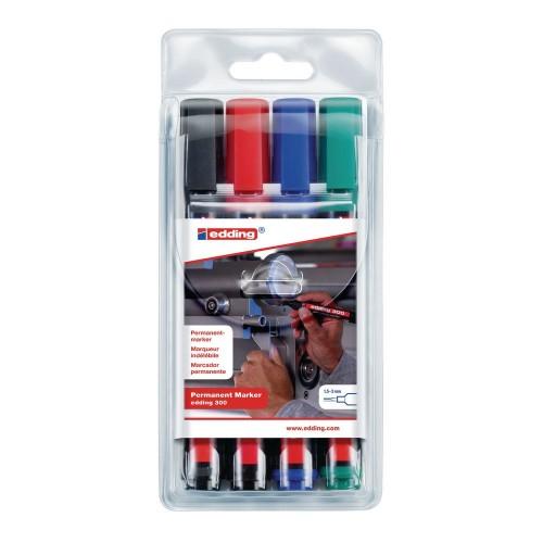 Набор маркеров перманентных Edding (Эддинг) 300, круглый наконечник, 1,5-3 мм, 4 шт/уп