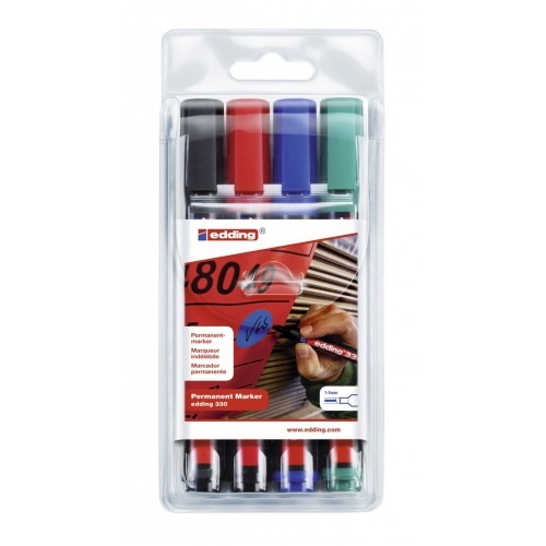 Набор маркеров перманентных Edding (Эддинг) 330, клиновидный наконечник, 1-5 мм, 4 шт/уп