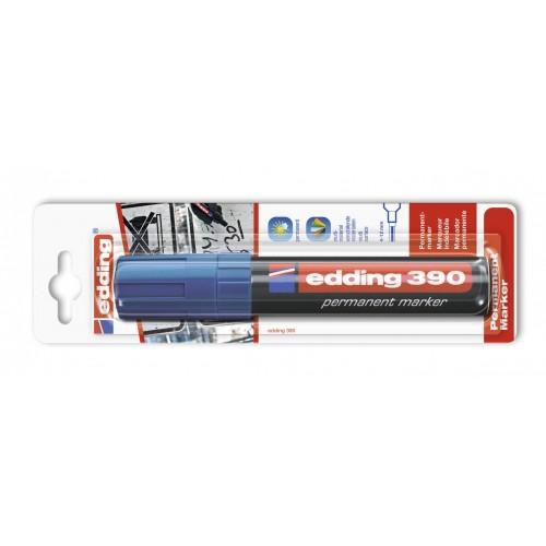 Маркер перманентный промышленный Edding (Эддинг) 390, клиновидный наконечник, 4-12 мм, синий 003, блистер