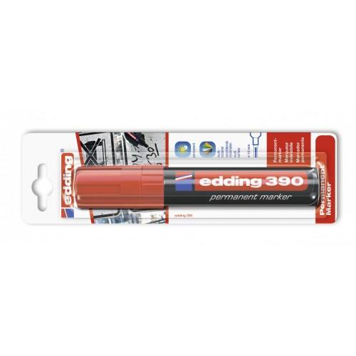 Маркер перманентный промышленный Edding (Эддинг) 390, клиновидный наконечник, 4-12 мм, красный 002, блистер