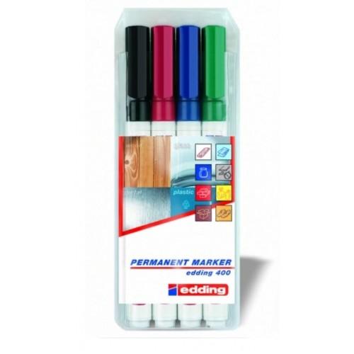 Набор маркеров перманентных Edding (Эддинг) 400, круглый наконечник, 1 мм, 4 шт/уп