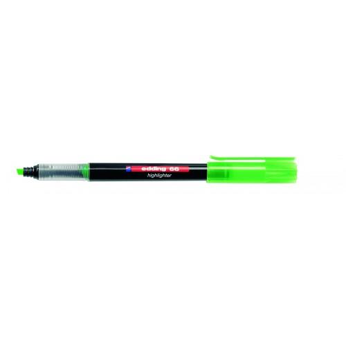 Маркер текстовыделитель Edding (Эддинг) 66 Liquid Ink, клиновидный наконечник, 1-4 мм, салатовый 011