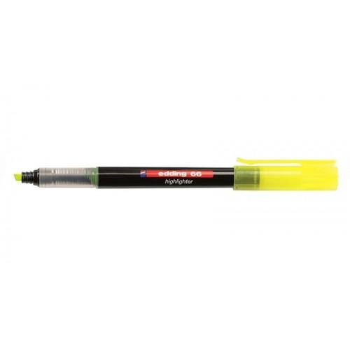 Маркер текстовыделитель Edding (Эддинг) 66 Liquid Ink  с клиновидным наконечником, чернила на водной основе, светостойкие, 1-4мм, желтый.