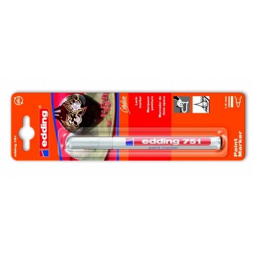 Маркер лаковый декоративный Edding (Эддинг) 751 Industry, круглый наконечник, 1-2 мм, белый 049, блистер