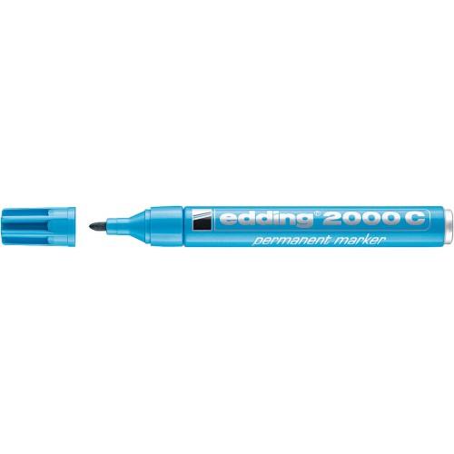 Маркер перманентный Edding (Эддинг) 2000С, круглый наконечник, заправляемый, голубой 010