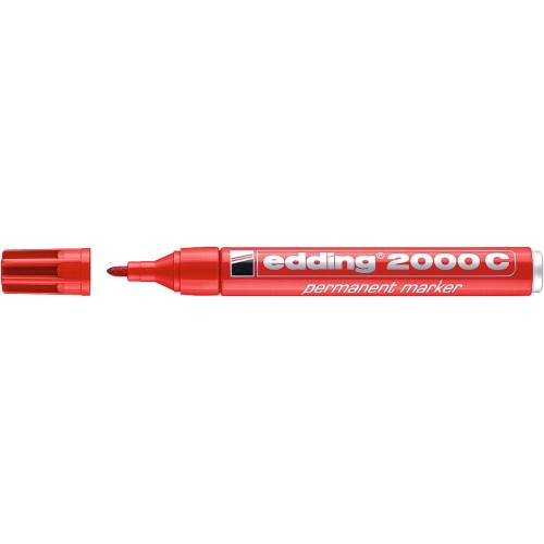 Маркер перманентный промышленный Edding (Эддинг) 2000С, круглый наконечник, 1,5-3 мм, заправляемый, красный 002