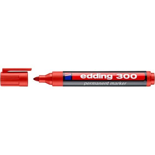 Маркер перманентный промышленный Edding (Эддинг) 300, круглый наконечник, 1,5-3 мм, красный 002