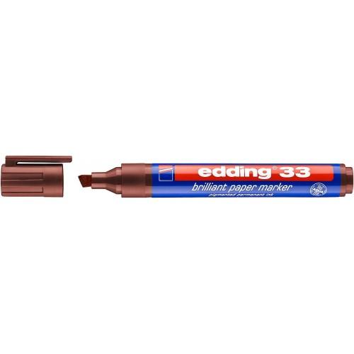 Маркер пигментный Edding (Эддинг) 33, клиновидный наконечник, 1-5 мм, на водной основе, коричневый 007