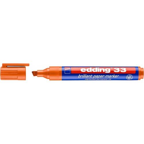 Маркер пигментный Edding (Эддинг) 33, клиновидный наконечник, 1-5 мм, на водной основе, оранжевый 006