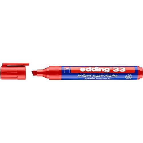Маркер пигментный Edding (Эддинг) 33, клиновидный наконечник, 1-5 мм, на водной основе, красный 002