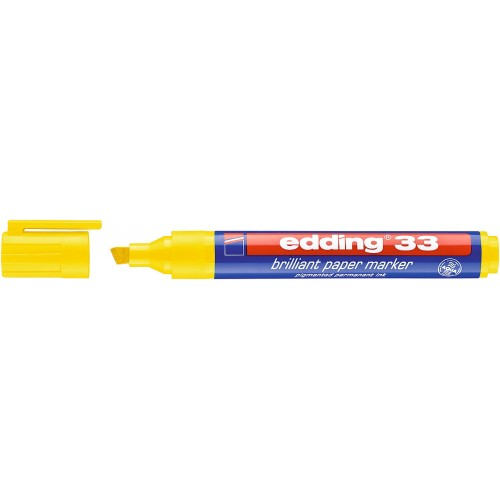 Маркер пигментный Edding (Эддинг) 33, клиновидный наконечник, 1-5 мм, на водной основе,  желтый 005