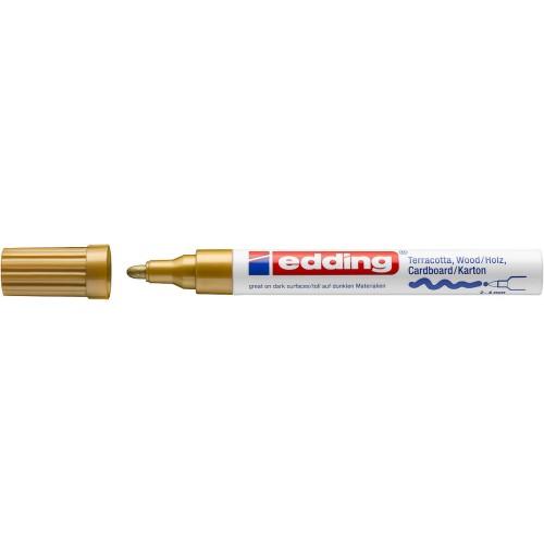 Маркер лаковый декоративный Edding (Эддинг) 4000, круглый наконечник, 2-4 мм, золотой 053