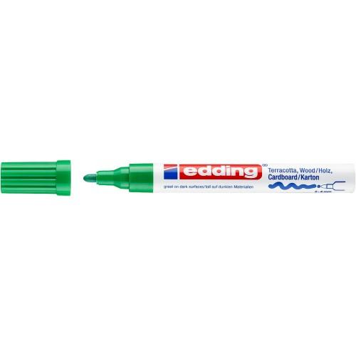 Маркер лаковый декоративный Edding (Эддинг) 4000, круглый наконечник, 2-4 мм, зеленый 004
