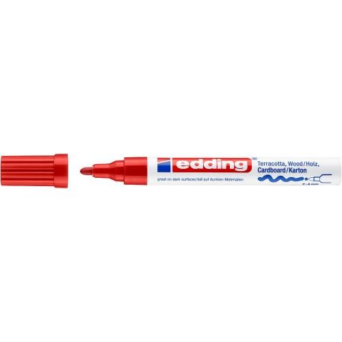 Маркер лаковый декоративный Edding (Эддинг) 4000, круглый наконечник, 2-4 мм, красный 002