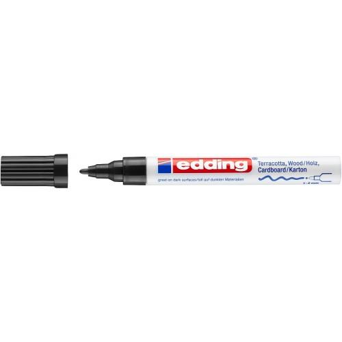 Маркер лаковый декоративный Edding (Эддинг) 4040, круглый наконечник, 1-2 мм, черный 001