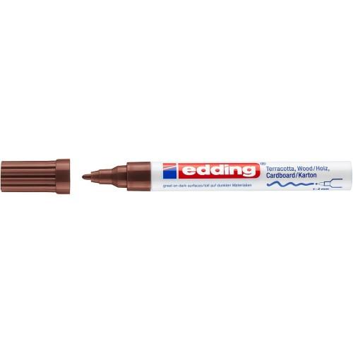 Маркер лаковый декоративный Edding (Эддинг) 4040, круглый наконечник, 1-2 мм, коричневый 007