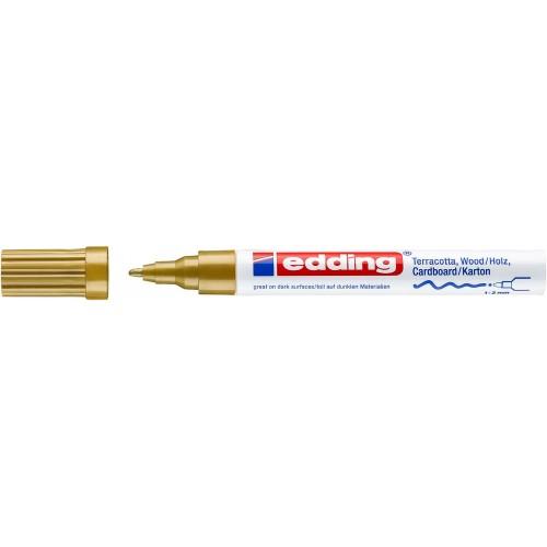 Маркер лаковый декоративный Edding (Эддинг) 4040, круглый наконечник, 1-2 мм, золотой 053