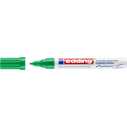 Маркер лаковый декоративный Edding (Эддинг) 4040, круглый наконечник, 1-2 мм, зеленый 004