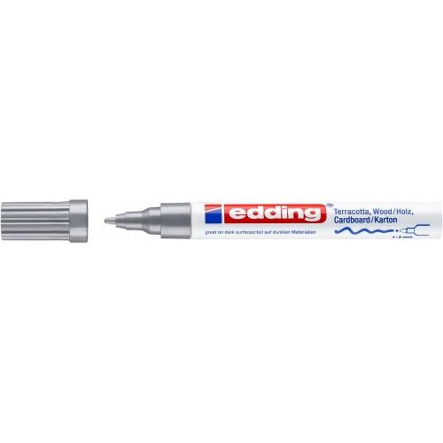 Маркер лаковый декоративный Edding (Эддинг) 4040, круглый наконечник, 1-2 мм, серебряный 054
