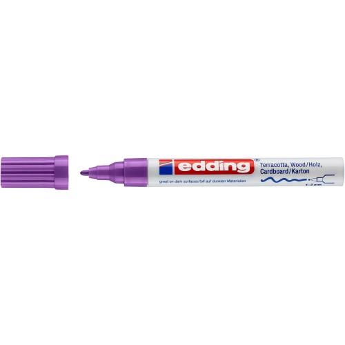 Маркер лаковый декоративный Edding (Эддинг) 4040, круглый наконечник, 1-2 мм, фиолетовый 008
