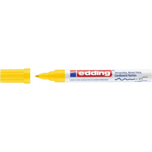 Маркер лаковый декоративный Edding (Эддинг) 4040, круглый наконечник, 1-2 мм, желтый 005