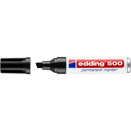 Маркер перманентный промышленный Edding (Эддинг) 500, клиновидный наконечник, 2-7мм, заправляемый, черный 001