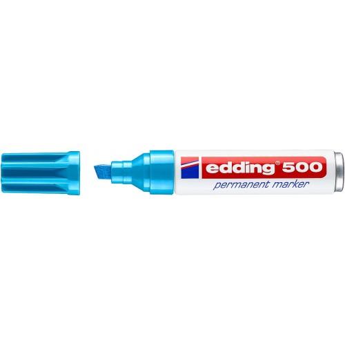 Маркер перманентный промышленный Edding (Эддинг) 500, клиновидный наконечник, 2-7мм, заправляемый, голубой 010