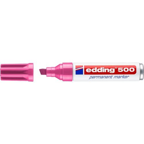 Маркер перманентный промышленный Edding (Эддинг) 500, клиновидный наконечник, 2-7мм, заправляемый, розовый 009