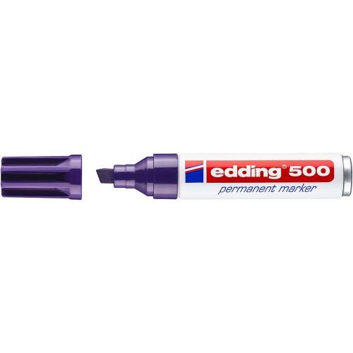 Маркер перманентный промышленный Edding (Эддинг) 500, клиновидный наконечник, 2-7мм, заправляемый, фиолетовый