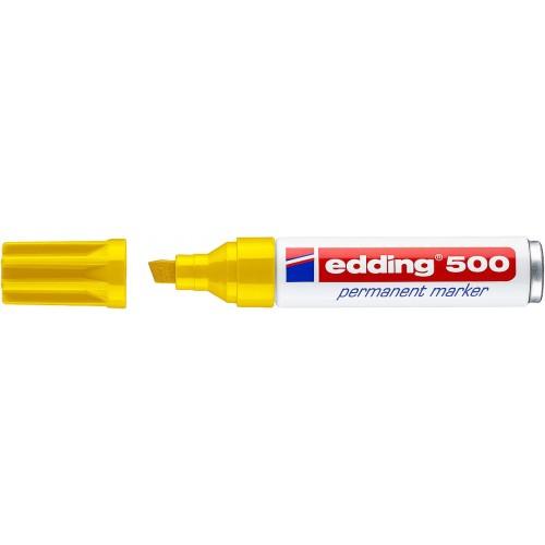 Маркер перманентный промышленный Edding (Эддинг) 500, клиновидный наконечник, 2-7мм, заправляемый, желтый