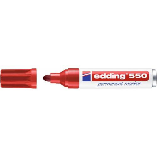 Маркер перманентный промышленный Edding (Эддинг) 550, круглый наконечник, 3-4 мм, красный 002