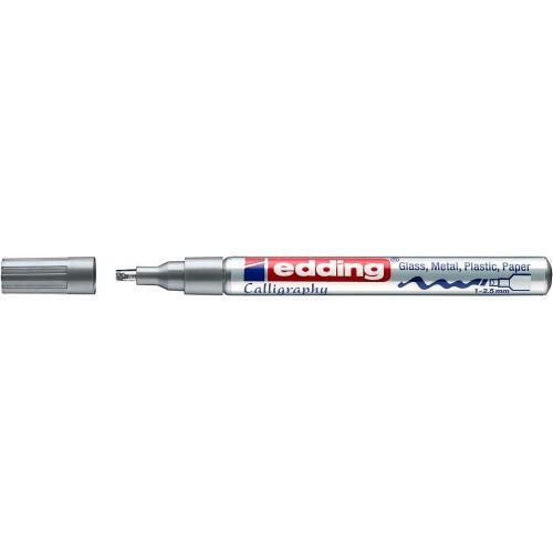 Маркер лаковый Edding (Эддинг) 753, каллиграфический наконечник, 1-2,5 мм, серебряный 054