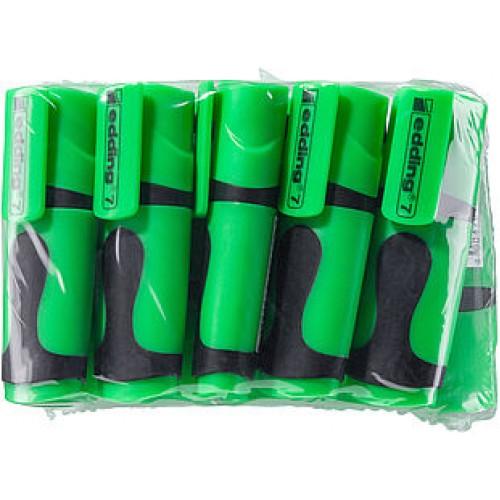 Маркер текстовыделитель Edding (Эддинг) 7 Mini, клиновидный наконечник, неон-зелёный 064, 10 шт в пакете
