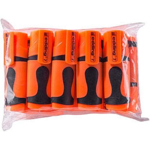 Маркер текстовыделитель Edding (Эддинг) 7 Mini, клиновидный наконечник, неон-оранжевый 066, 10 шт в пакете