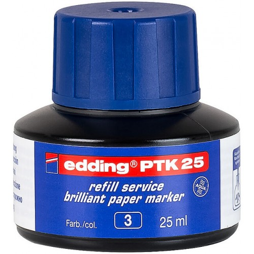 Чернила пигментные Edding (Эддинг) РТК 25, 25 мл, синие 003, для заправки маркеров E-30, 33