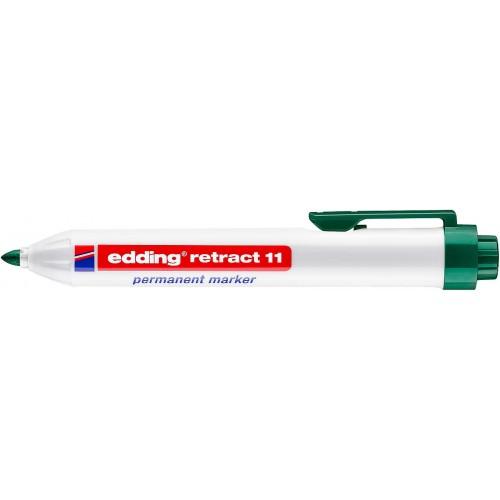 Маркер перманентный промышленный Edding (Эддинг) 11, c кнопкой, пулевидный наконечник, 1,5-3 мм, зеленый 004