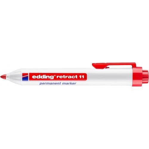 Маркер перманентный промышленный Edding (Эддинг) 11, c кнопкой, пулевидный наконечник, 1,5-3 мм, красный 002