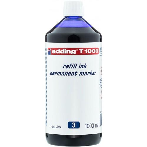 Чернила промышленные Edding (Эддинг) T 1000, 1000 мл, синие 003, для заправки перманентных маркеров E-2000, 2000 C, 2200, 2200 C, No.1, 400, 404, 500, 800, 850, 353, 370, 390