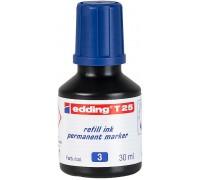 Чернила промышленные Edding (Эддинг) T 25, 30 мл, синие 003, для заправки перманентных маркеров E-2000, 2000 C, 2200, 2200 C, No.1, 400, 404, 500, 800, 850, 353, 370, 390
